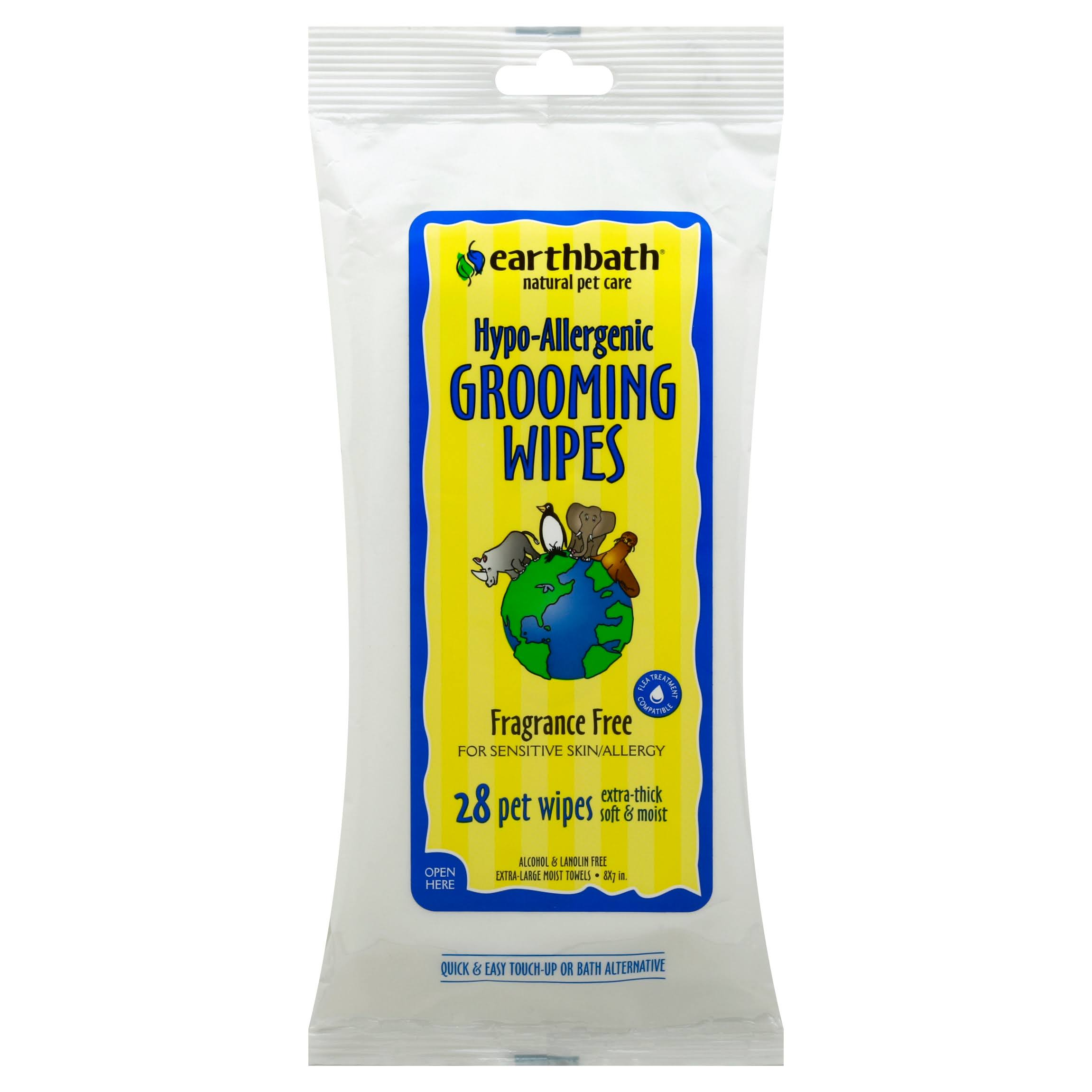 Earthbath Grooming Wipes - 28 Pet Wipes