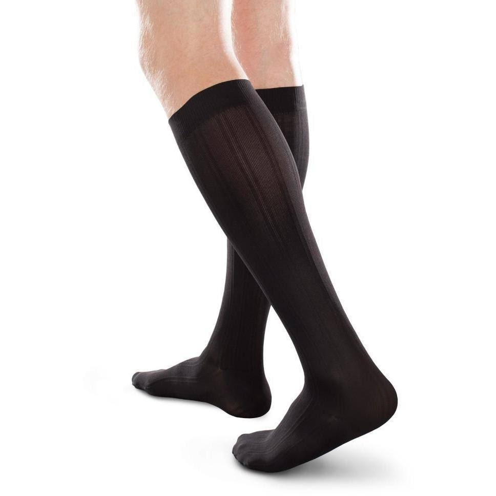 Therafirm Men's Ease Opaque Long Knee High Socks - 15-20mmHg, Black, Medium