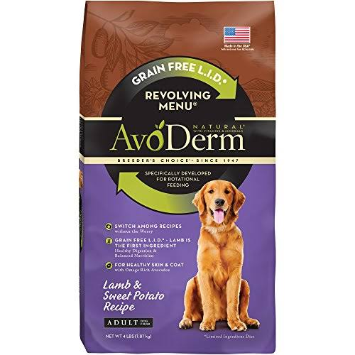 Avoderm Natural Revolving Menu Dry Dog Food - Lamb and Sweet Potato Recipe, 4lbs