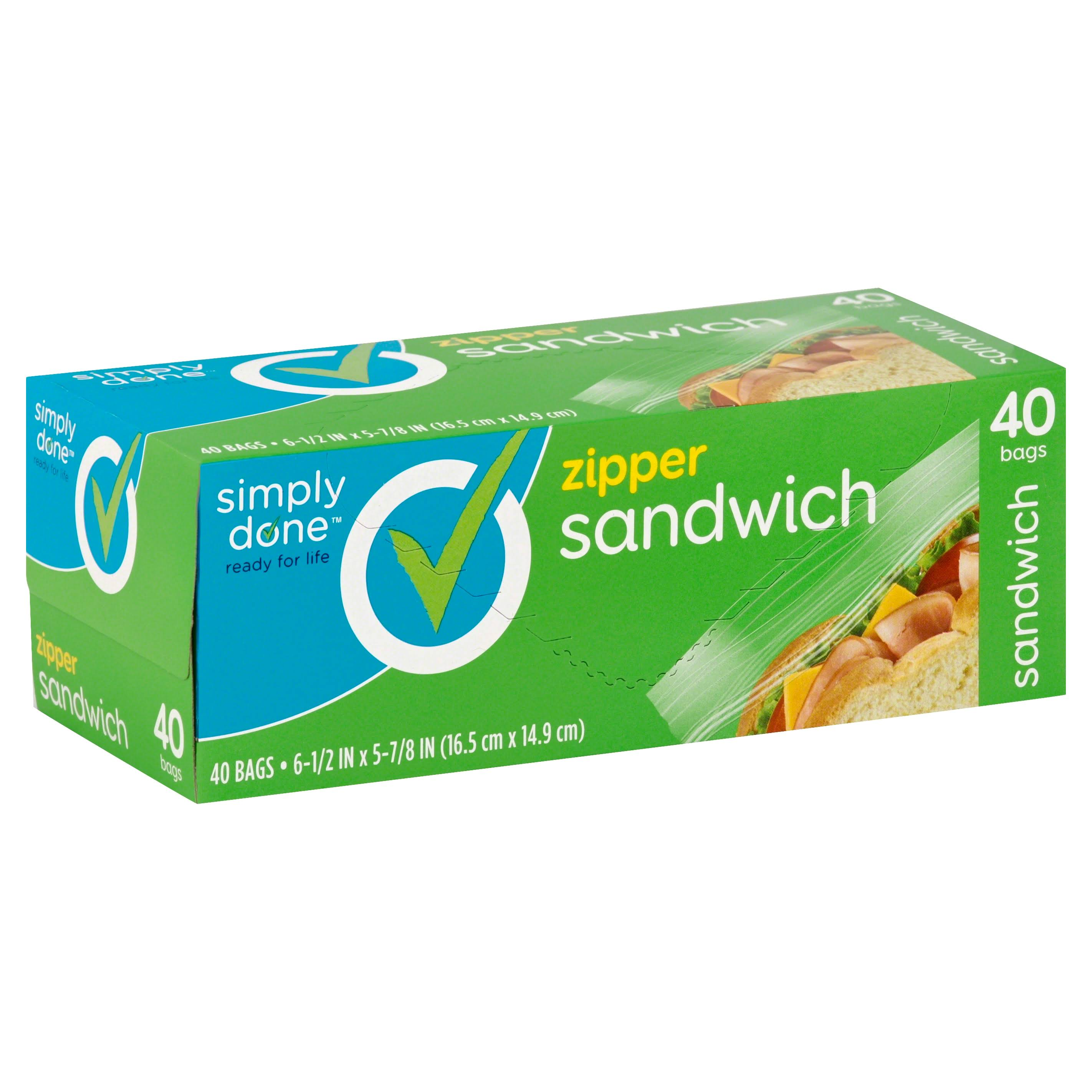 Simply Done Sandwich Bags, Zipper - 40 bags