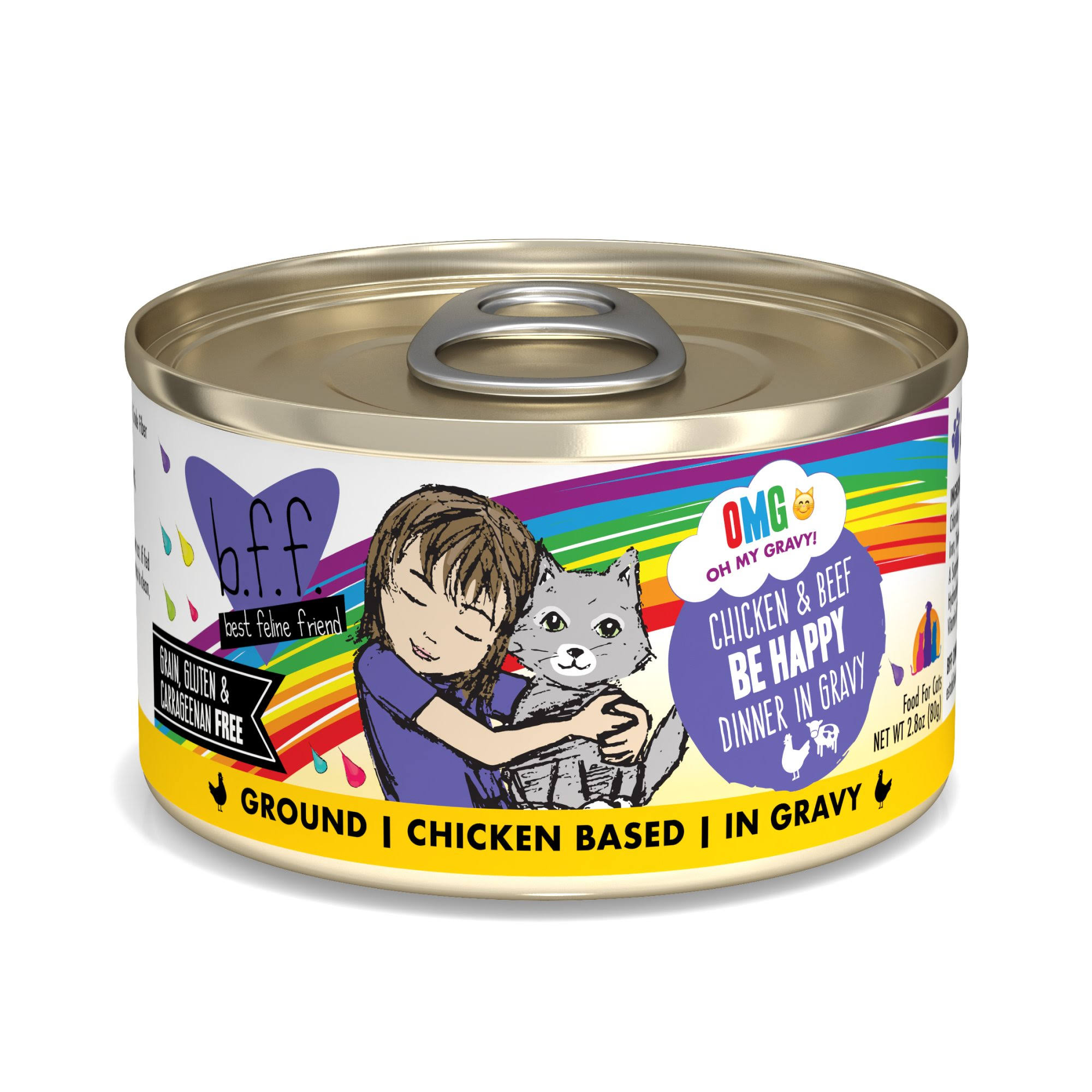 B.f.f. OMG Chicken & Beef Be Happy Dinner in Gravy OMG Food for Cats - 2.8 oz