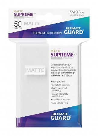 Ultimate Guard Supreme UX Sleeves - Standard Size, Matte White, 50ct
