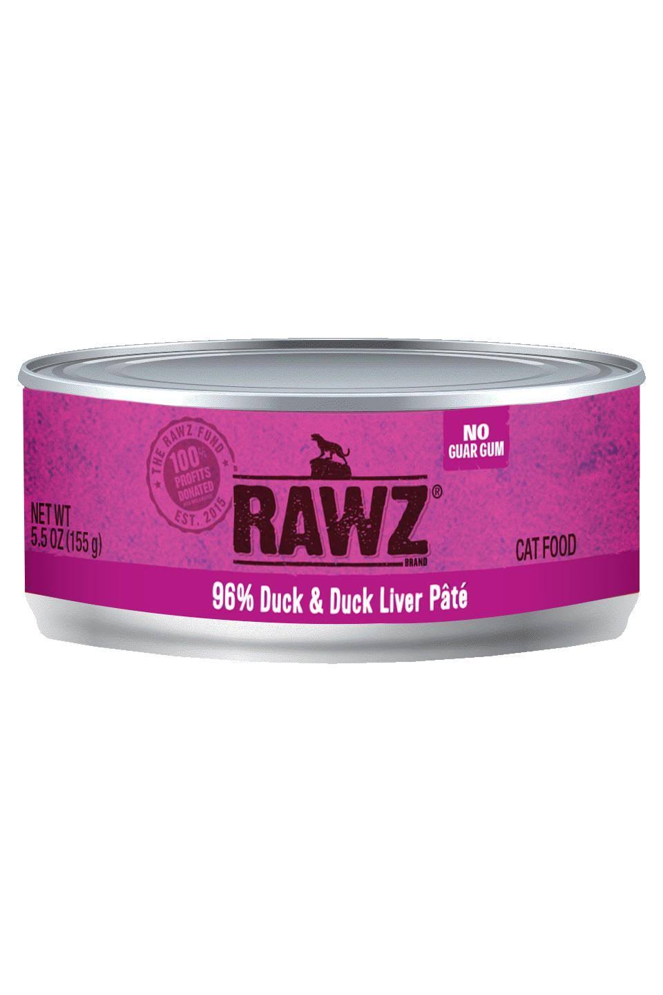 Rawz 96% Duck & Duck Liver Cat Food Can | Tomlinson's Feed 5.5 oz
