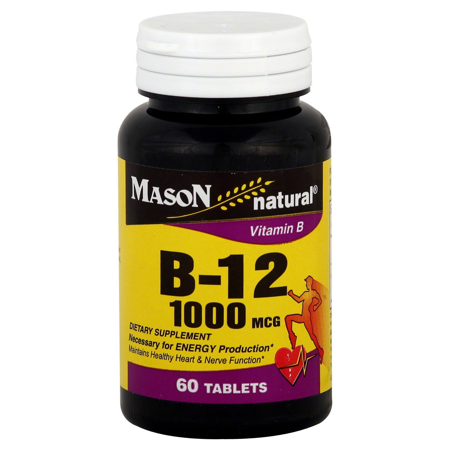 Mason Naturals Vitamin B-12 Dietary Supplement - 1000mcg, 60 Count