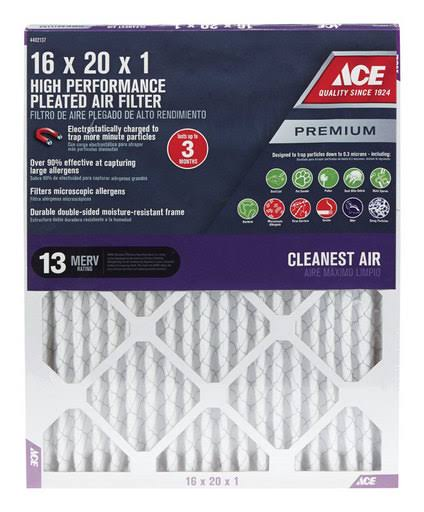 "Ace Premium Allergen Reduction Pleated Furnace Filter - 16"" x 20"" x 1"""