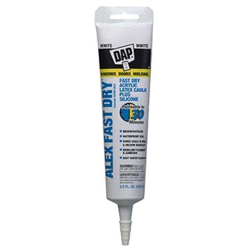 Dap 11425 Alex Plus Fast Dry Acrylic Latex Caulk Plus Silicone - White, 5.5oz