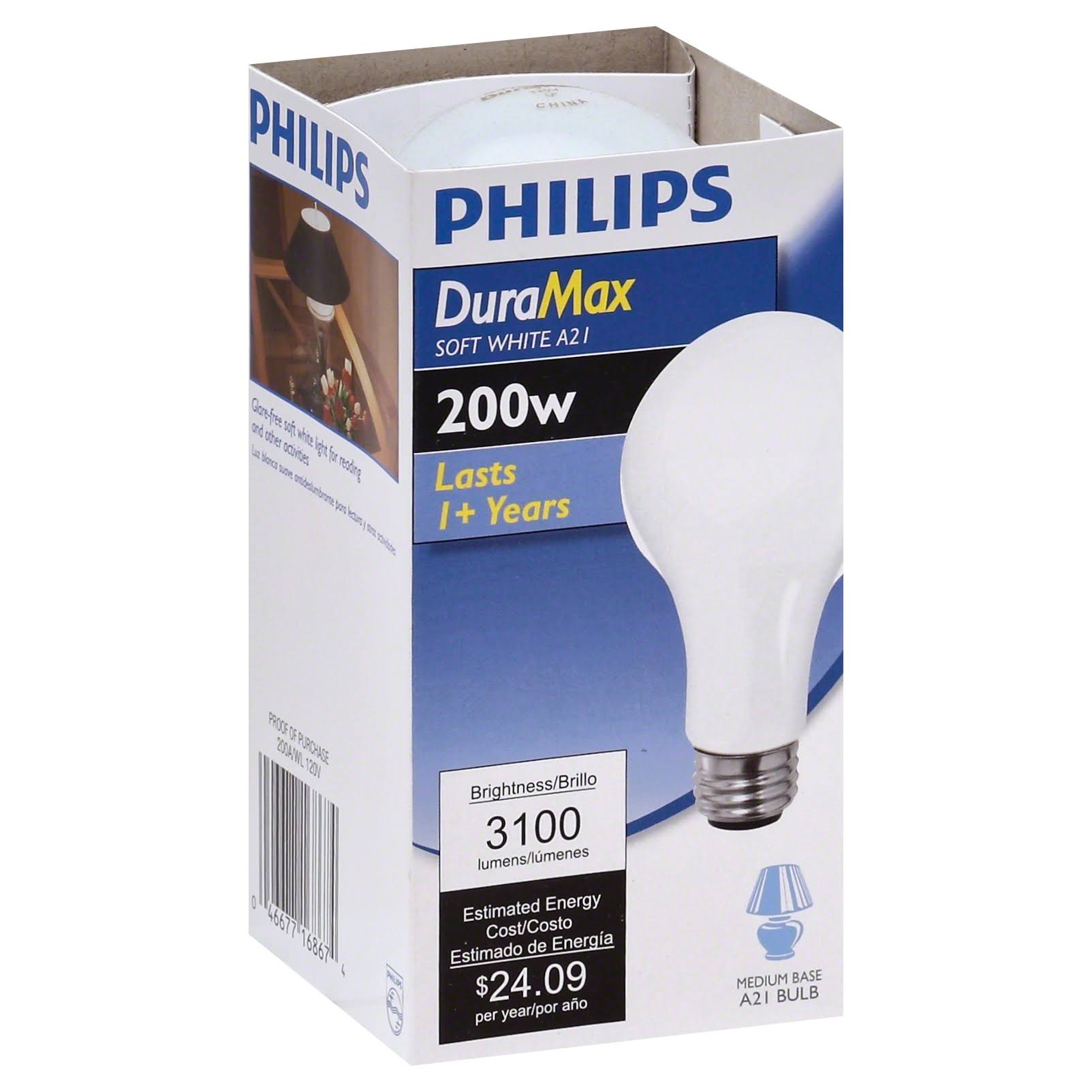Philips Light Bulb - Soft White, 200w