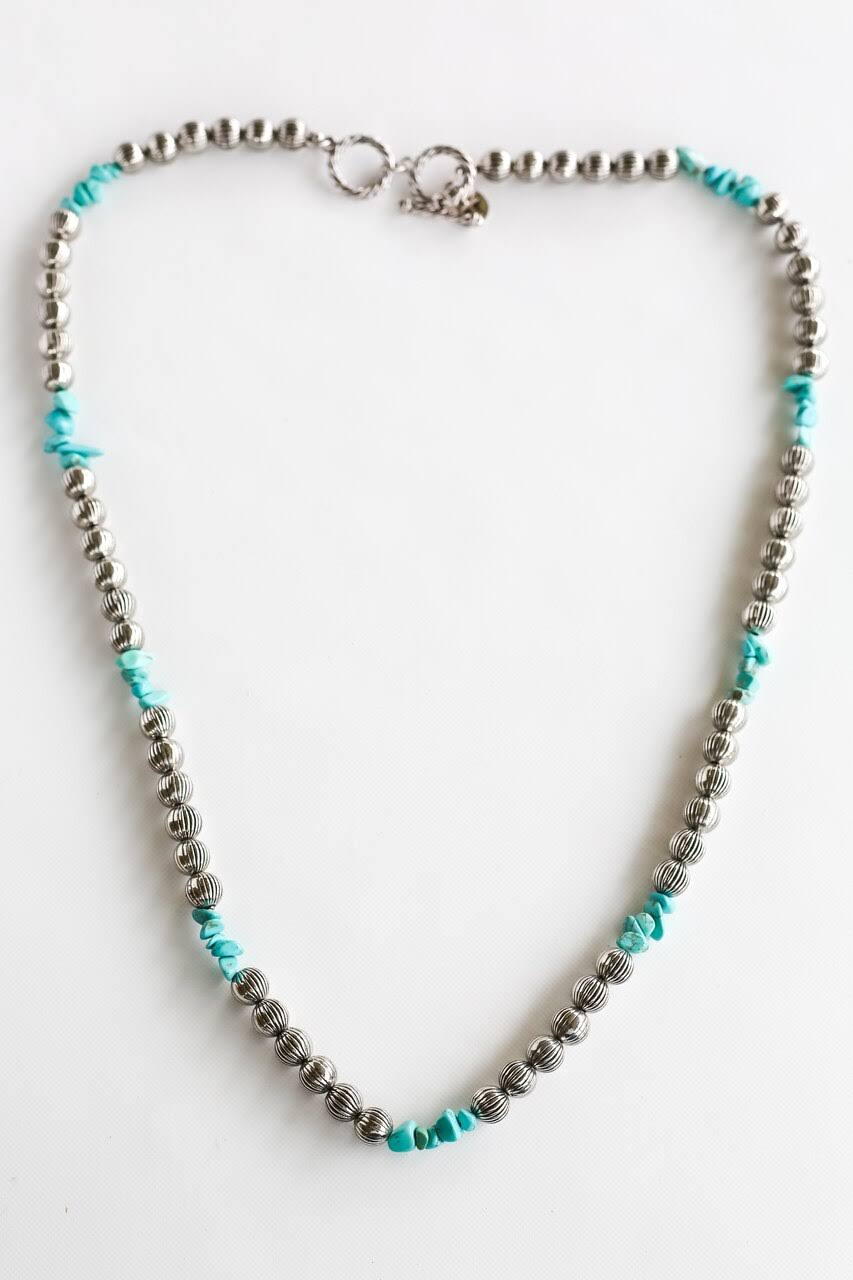 Silver Bead with Turquoise Necklace - N1187
