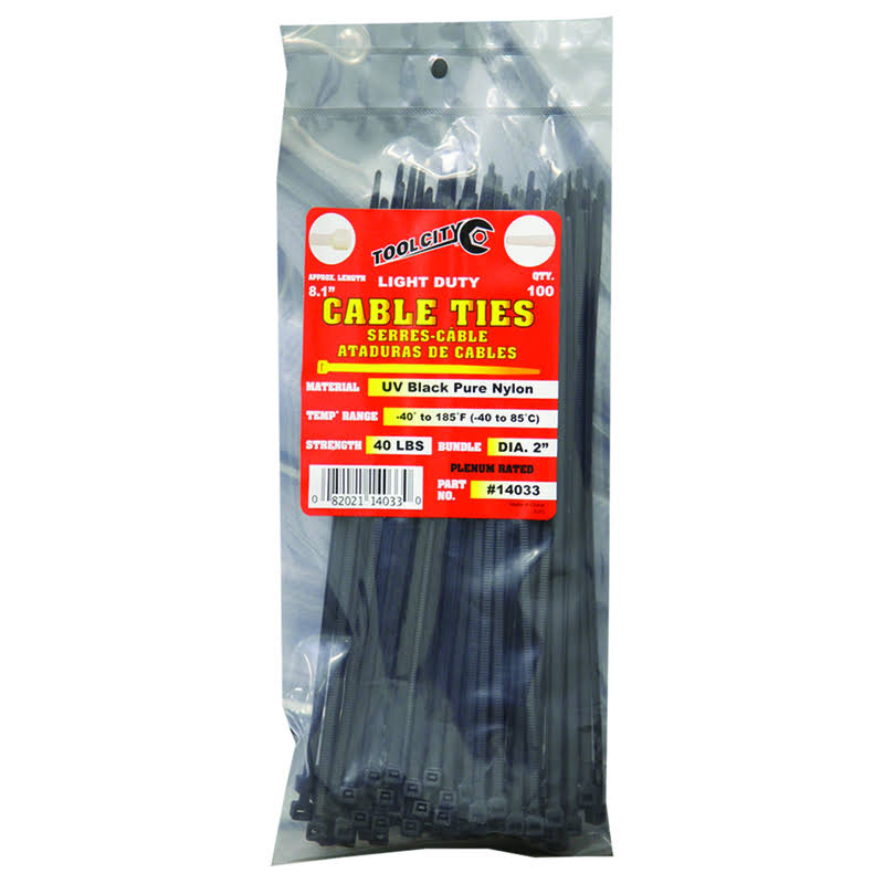 Tool City 8.1 in. L Black Cable Tie 100 Pk