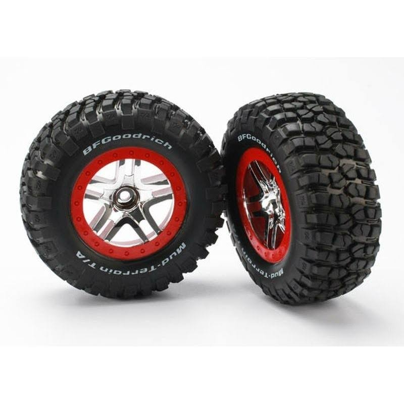 Traxxas 2 Mud Terrain Tires/Wheels Red/Chrome, 5877A
