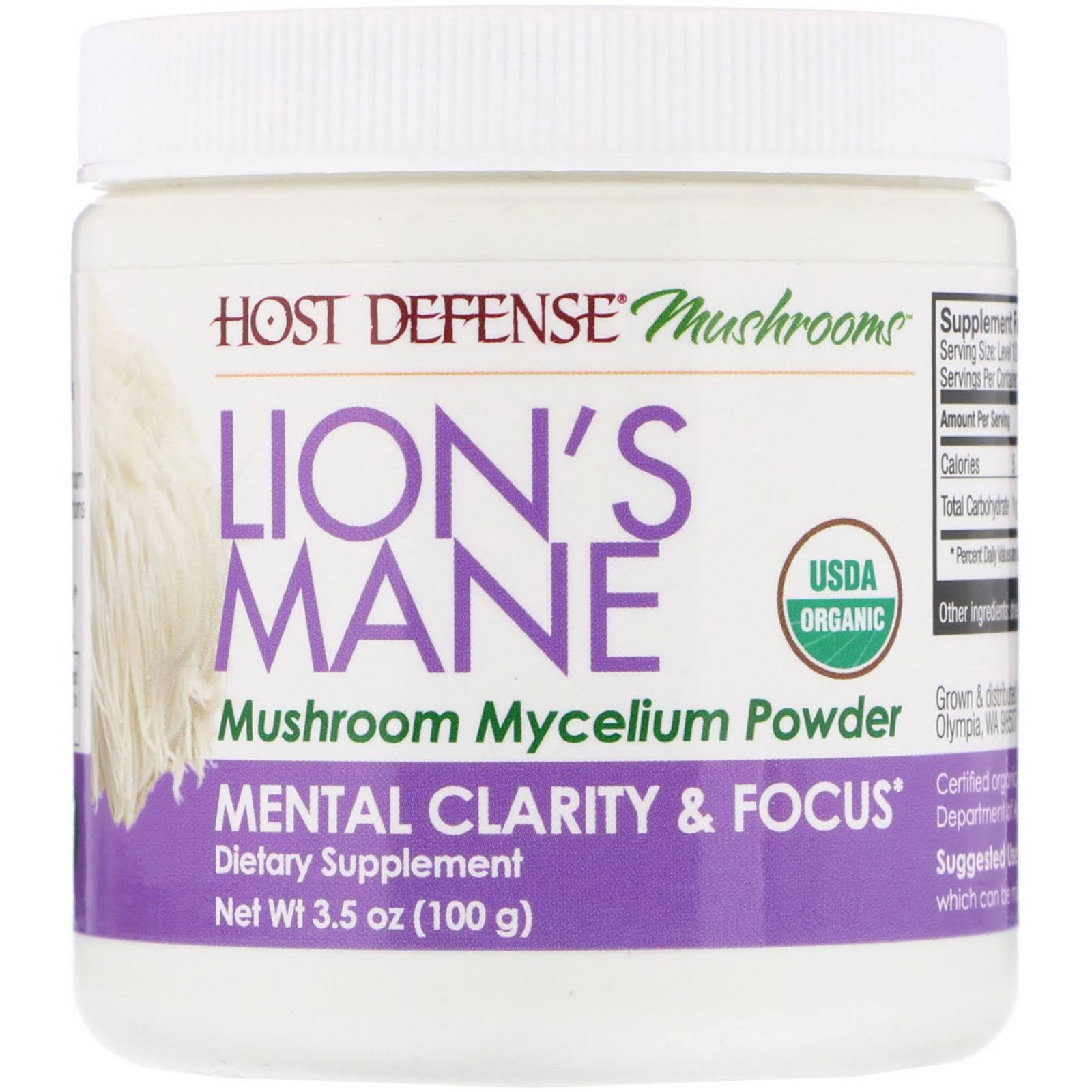 Host Defense Lion's Mane Mushroom Mycelium Powder 3.5oz
