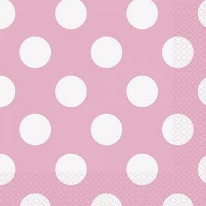 Unique Polka Dot Paper Napkins - Light Pink, 16ct
