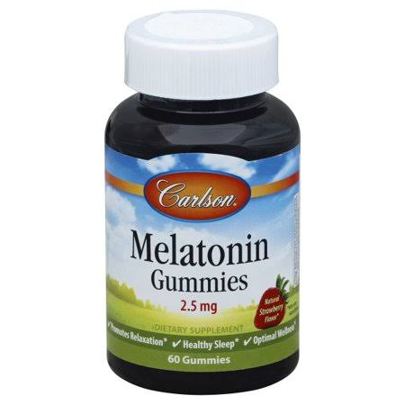 Carlson Labs - Melatonin Gummies, Strawberry, 2.5 mg, 60 Gummies