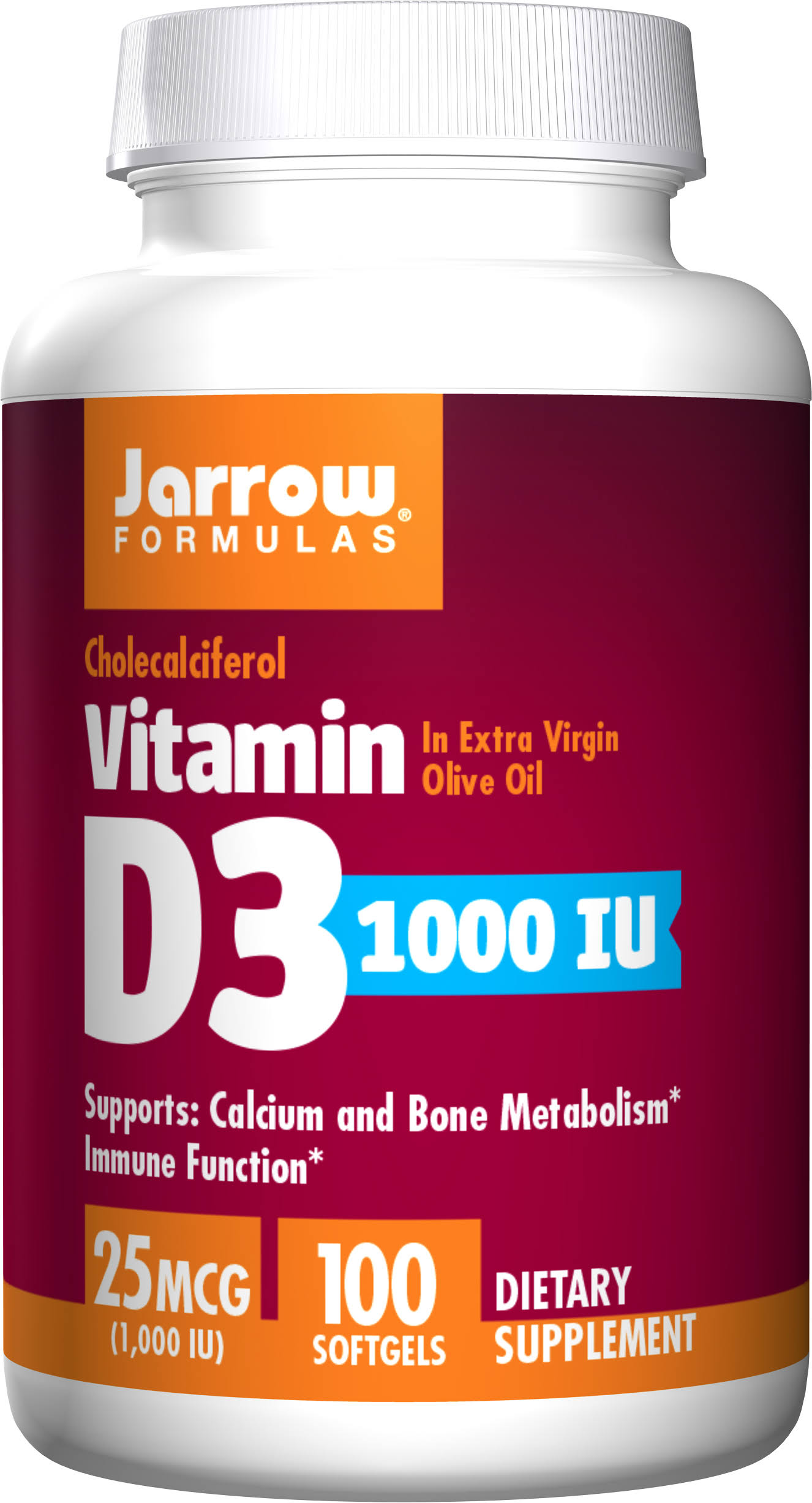 Jarrow Formulas Vitamin D3 - 1000 IU, 100 Softgels