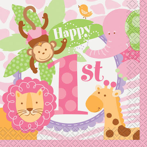 Pink Safari First Birthday Beverage Napkins - 24ct