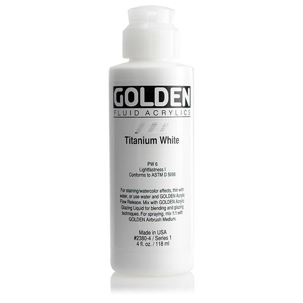 Golden Fluid Acrylics Paint Color - Titanium White, 118ml