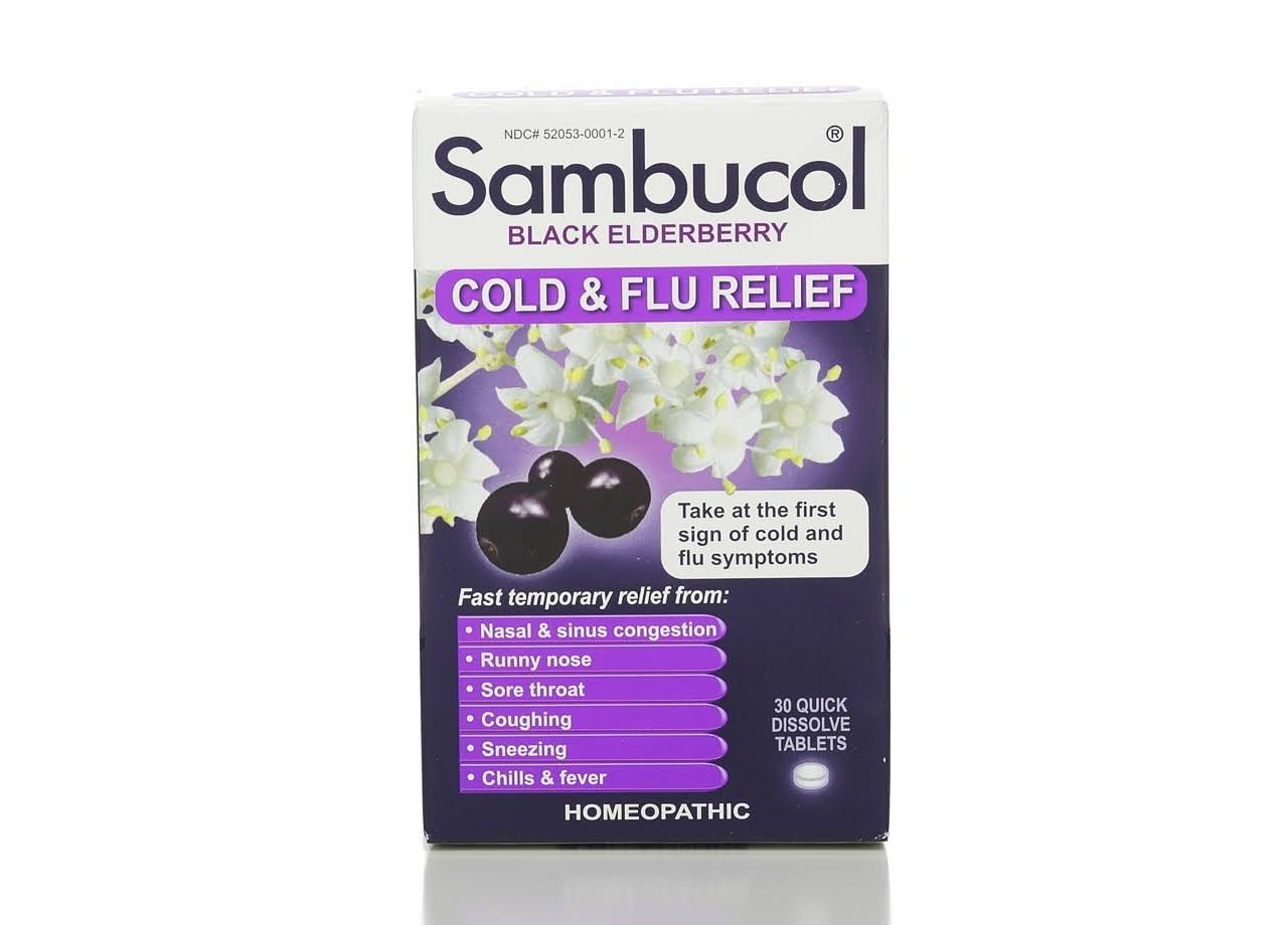 Sambucol Homeopathic Cold & Flu Relief Tablets - Black Elderberry, x30