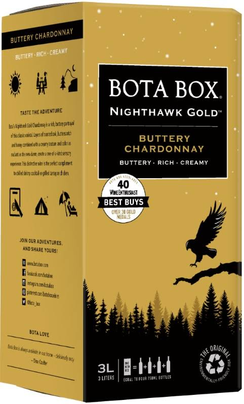 Bota Box Chardonnay, Buttery, Nighthawk Gold - 3 liters