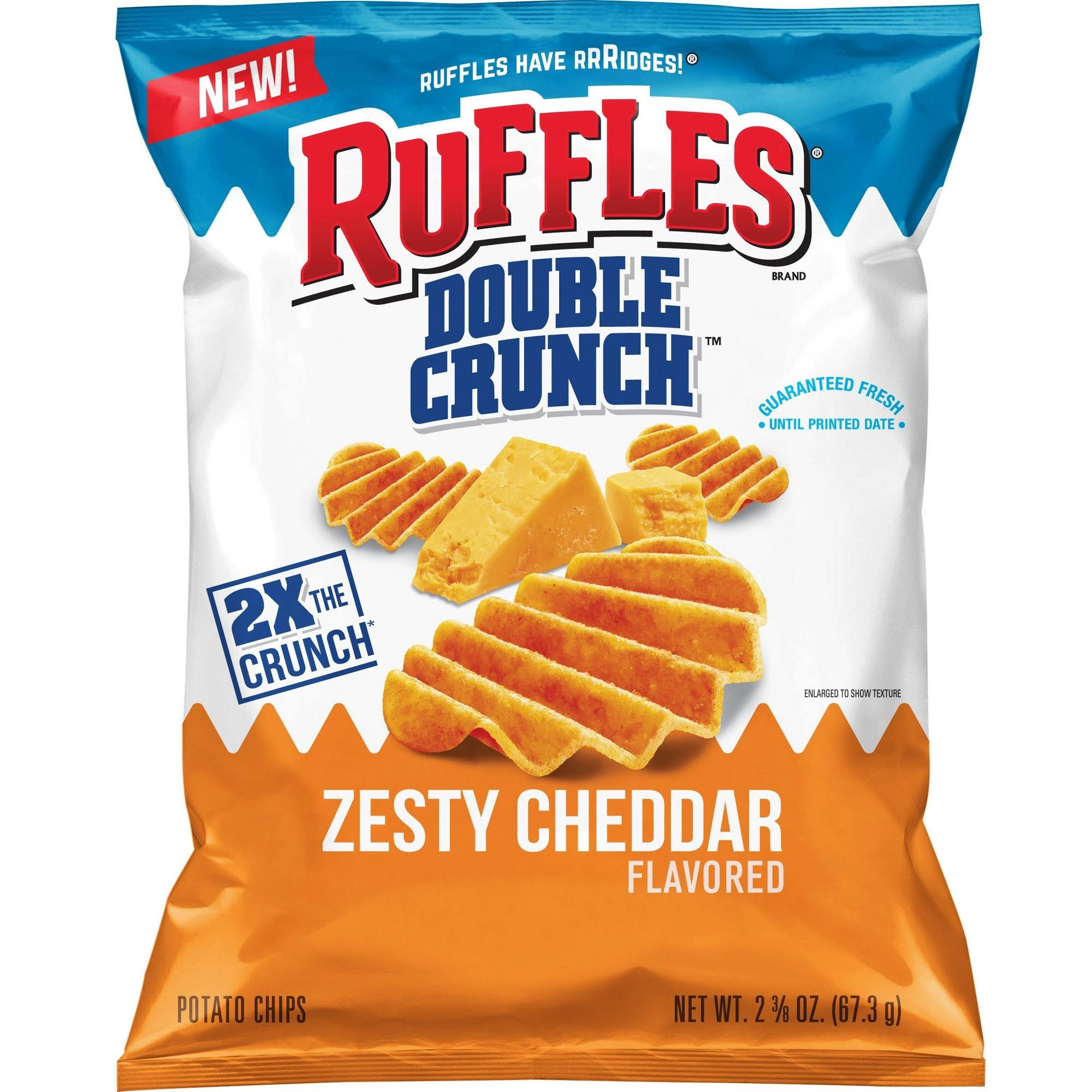 Ruffles Double Crunch Zesty Cheddar Flavored Potato Chips - 67.3g