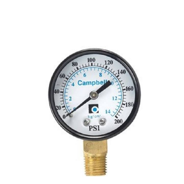 Campbell PG2-NL Pressure Gauge - 0 to 200 PSI