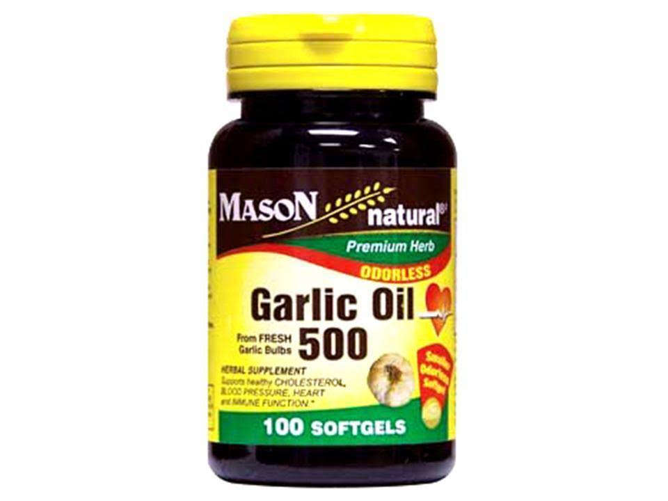 Mason Natural Garlic Oil 500mg Odorless Softgels - x100