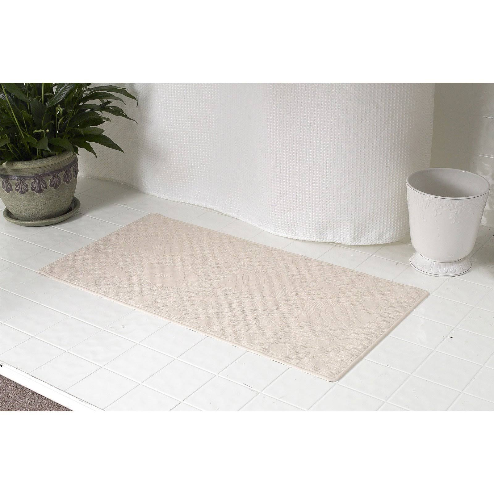 Carnation Home Fashions Medium Rubber Bath Mat Bone