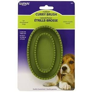 Safari Rubber Dog Curry Brush - Green