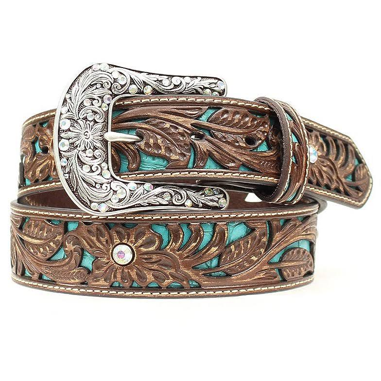 Ariat Tooled Turquoise Leather Inlay Belt - Small