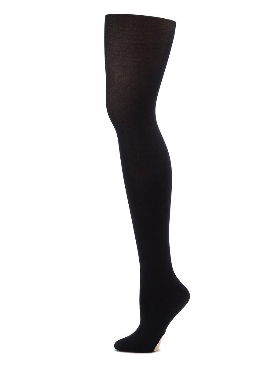 Capezio Big Girl's Ultra Soft Self Knit Waistband Tight - Black, One Size, 8-12