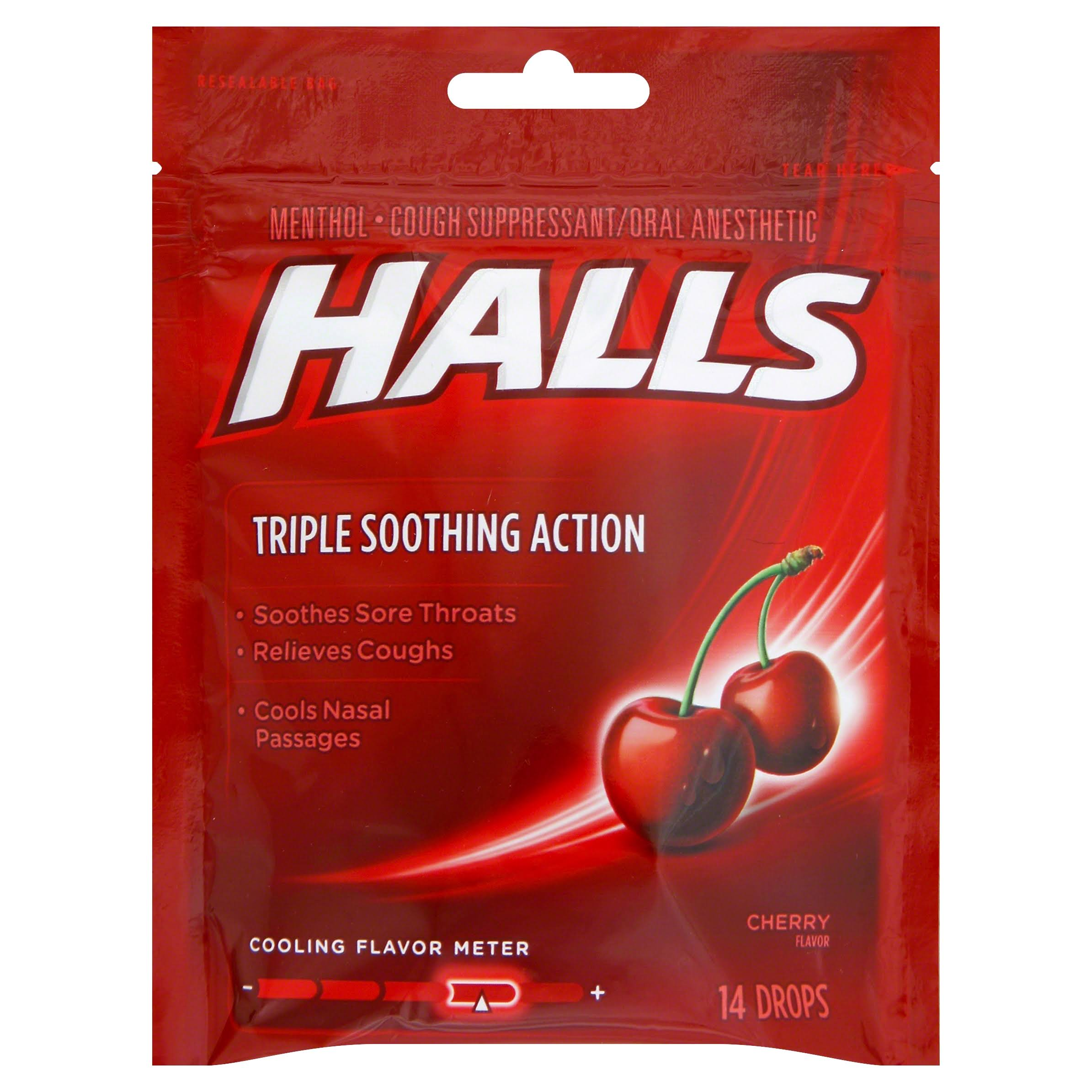Halls Couth Suppressant/Oral Anesthetic, Cherry Flavor - 14 drops