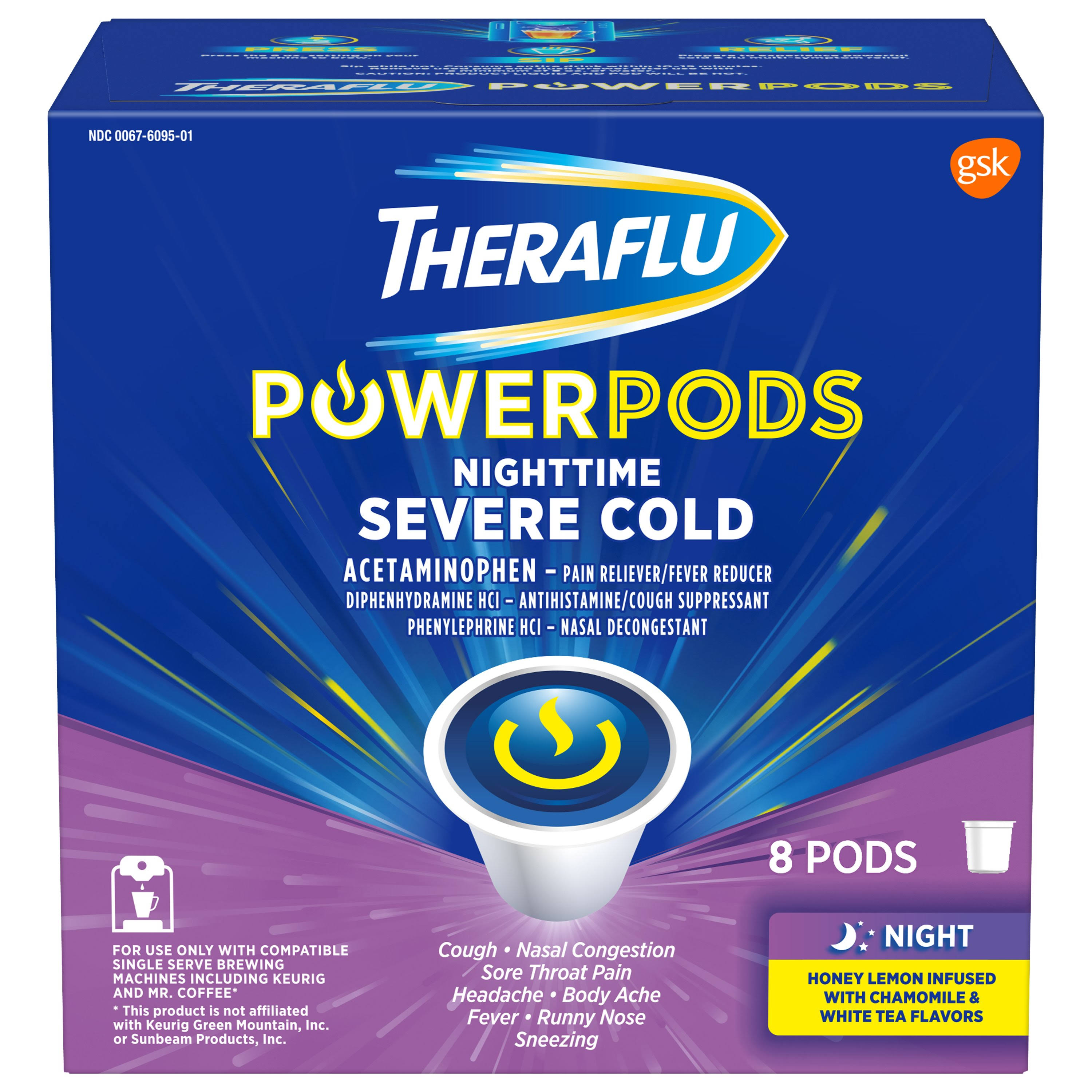 Theraflu Powerpods Nighttime Severe Cold Medicine - Honey Lemon With Chamomile & White Tea, 8 Pods