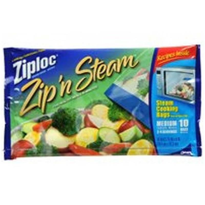 Ziploc Zip N Steam Cooking Bags, Medium, 10 Ct