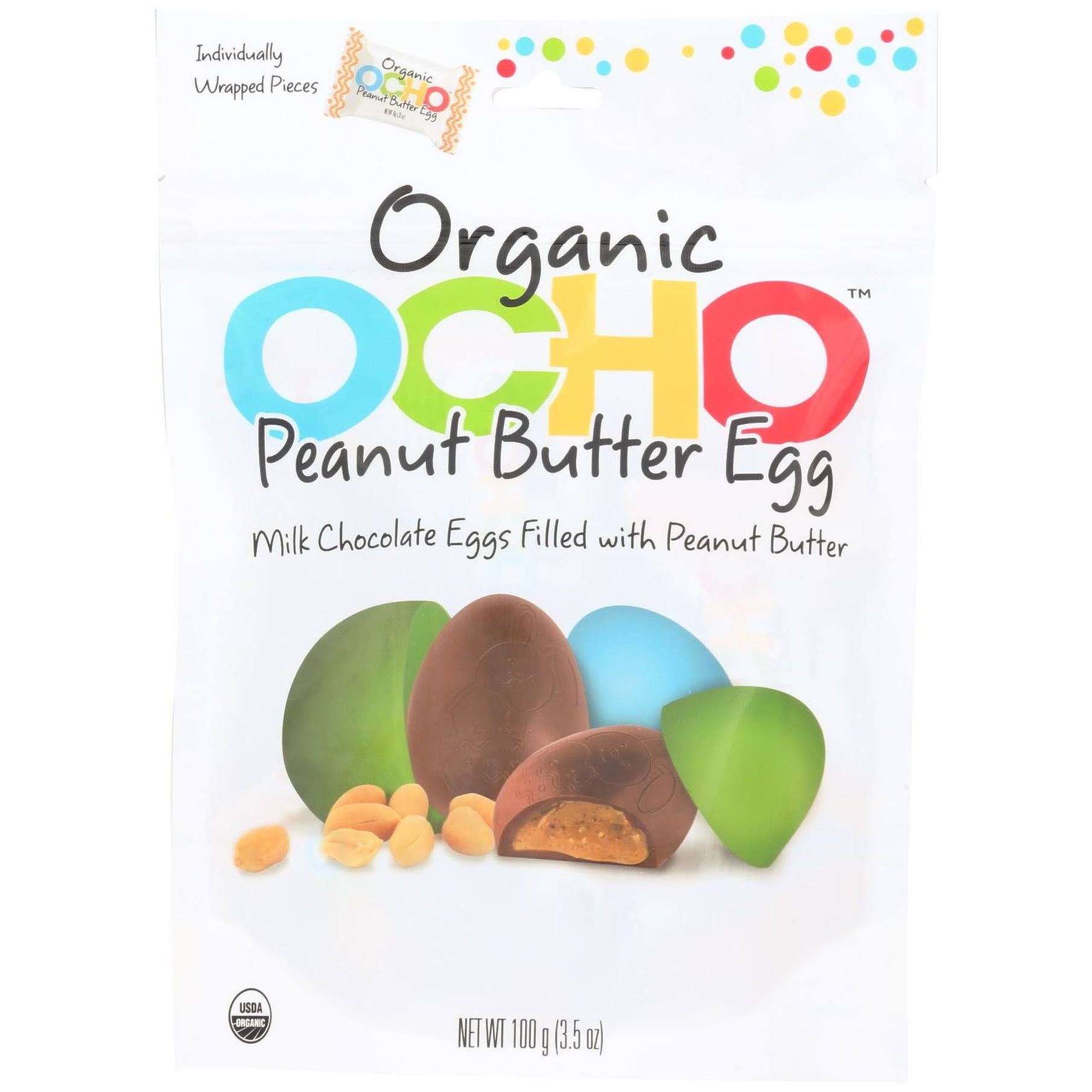 Ocho Candy - Organic Peanut Butter Eggs Milk Chocolate - 3.5 oz.