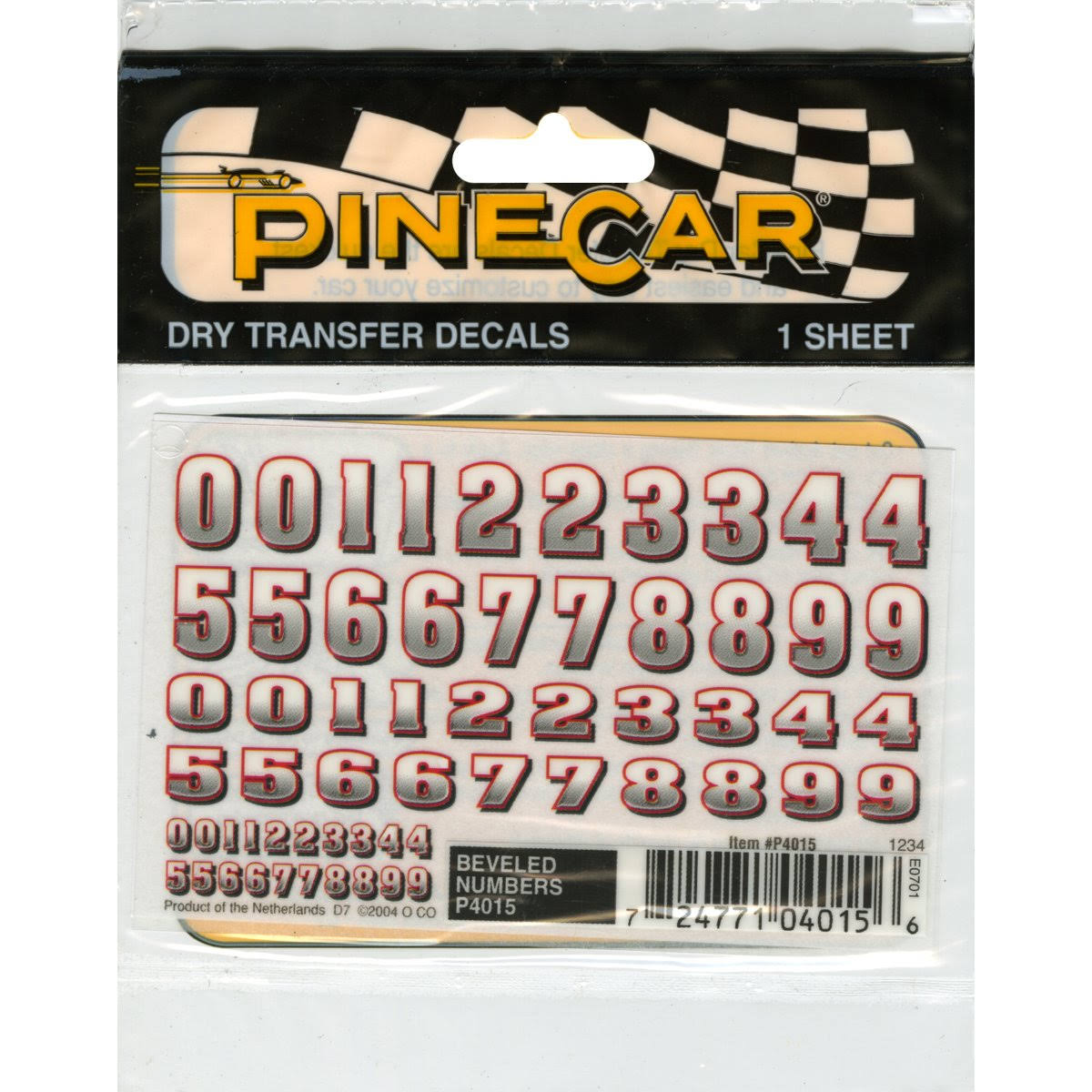 Pine Car Dry Transfer Beveled Numbers