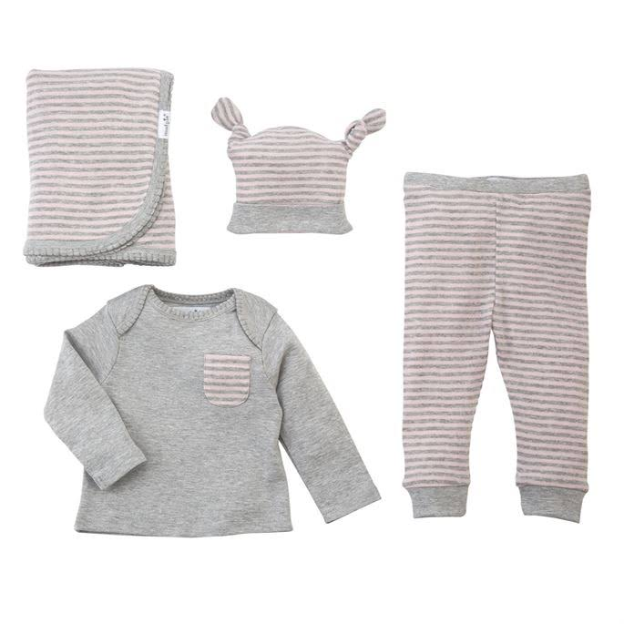 Mud Pie Long Sleeve Layette Gift Set - Pink and Gray, 4pc