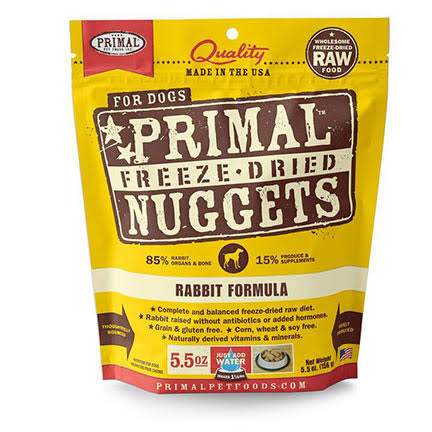 Primal Freeze Dried Nuggets Grain Free Rabbit Formula Dog Food 5.5-oz