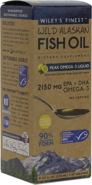 Wiley's Finest Wild Alaskan Fish Oil Supplement - Peak Omega-3 Liquid, Lemon, 250ml