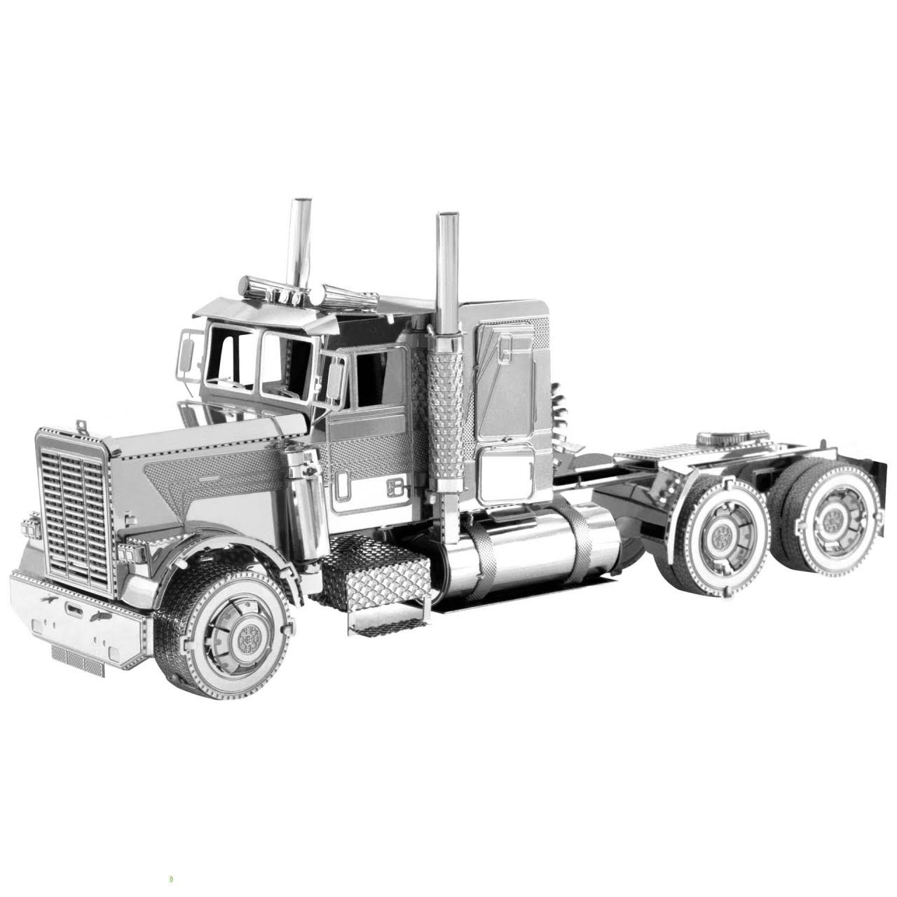 Fascinations Metal Earth MMS144 Freightliner Long Nose Truck 3D Metal Model Kit - Metallic