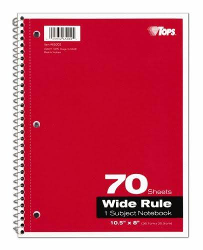 Tops Theme Book Wide Rule Spiral Notebook - 70 Sheets