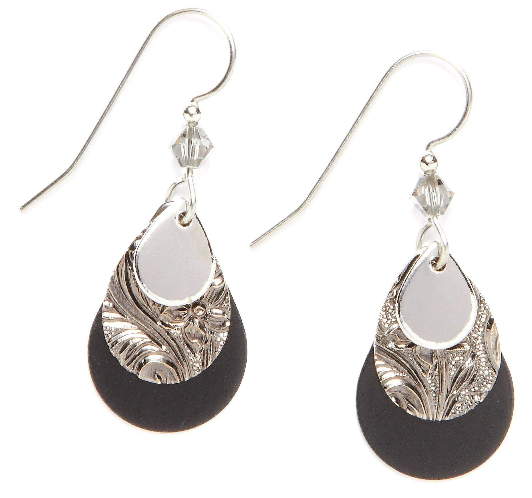 Silver Forest Black Layered Earrings
