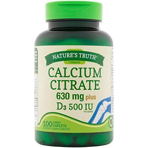 Nature's Truth Max Calcium Citrate Supplement - 630mg, D3 500IU, 100ct