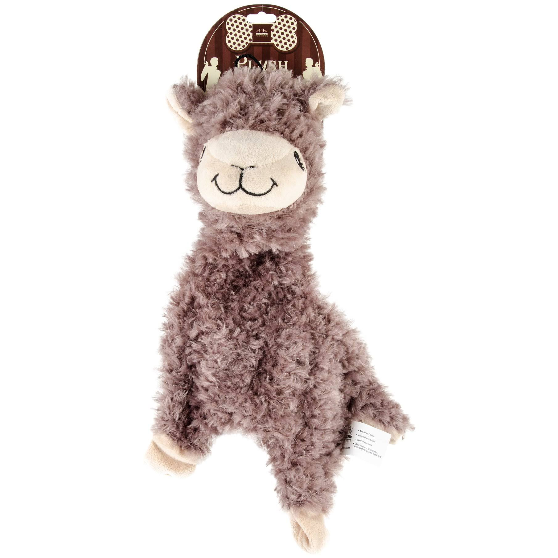 Nandog Pet Gear Nandog My BFF Plush Toy - Brown Alpaca