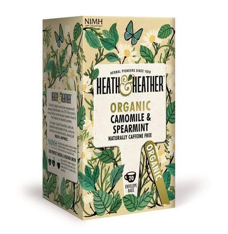 Heath and Heather Organic Camomile and Spearmint 20 Envelope Bags - 30g