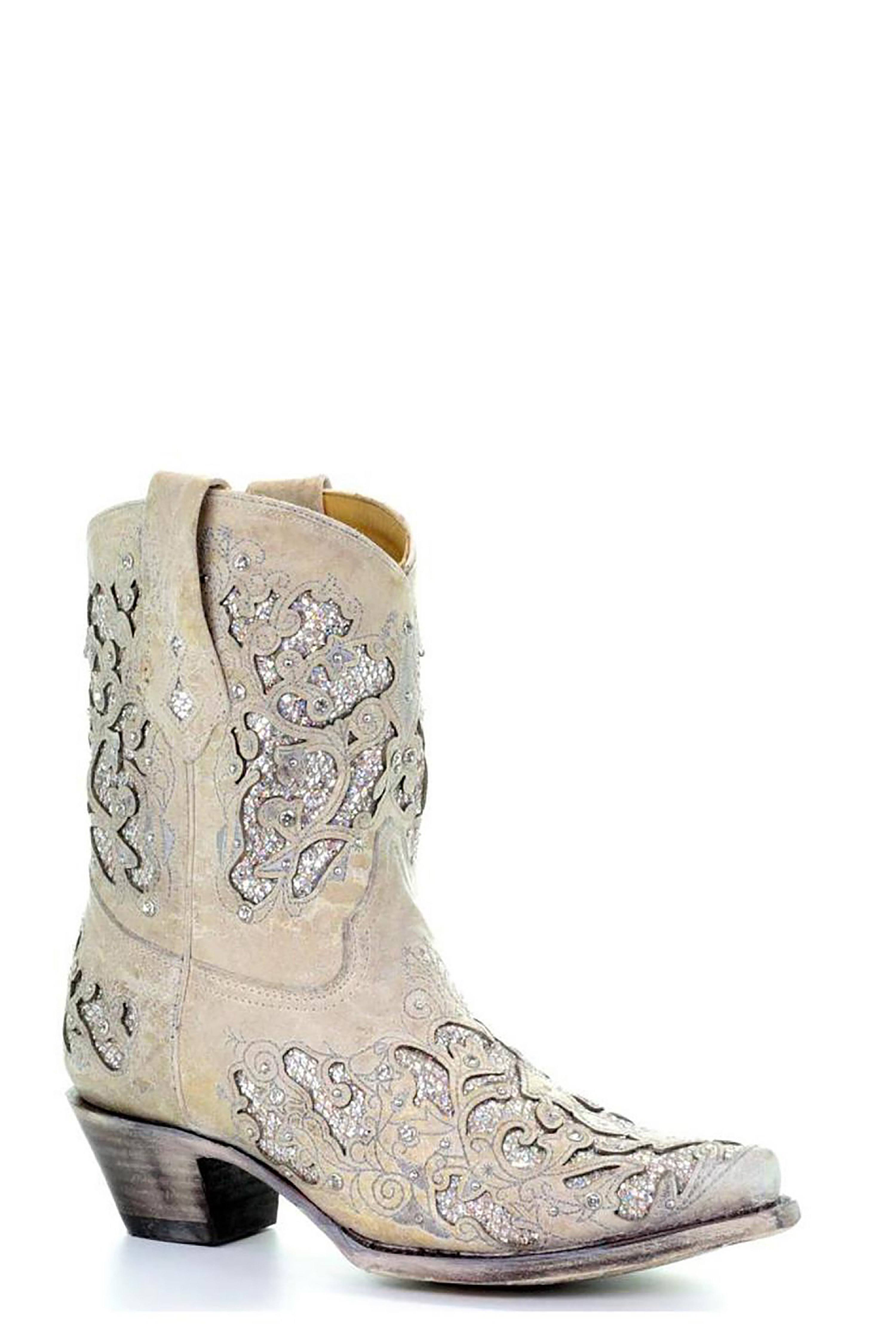 Corral Boots A3550 White Glitter, Women's, Size: 8.5