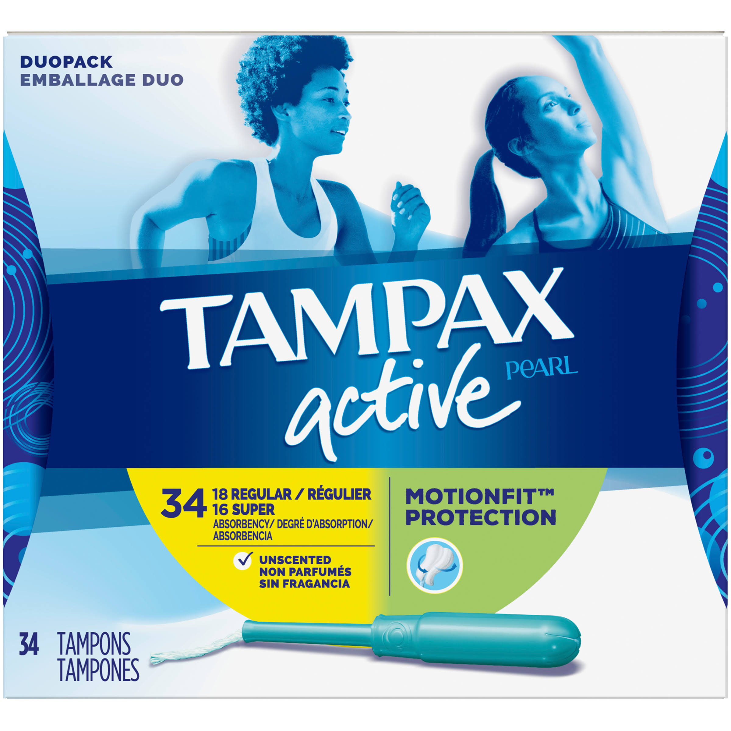 Tampax Pearl Active Duo Plastic Tampons - Unscented, 34ct