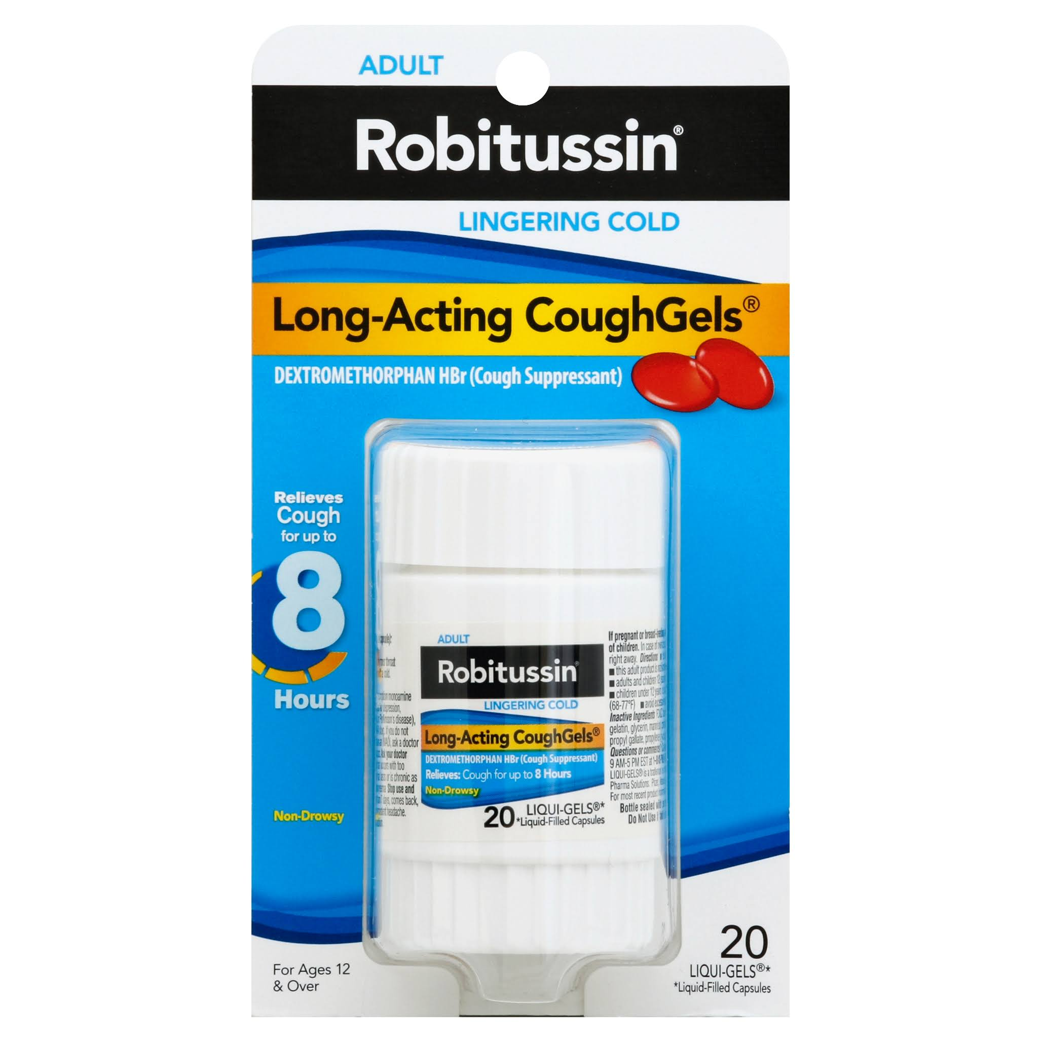 Robitussin Adult Lingering Cold Long-Acting Cough Gels - 20 Pack