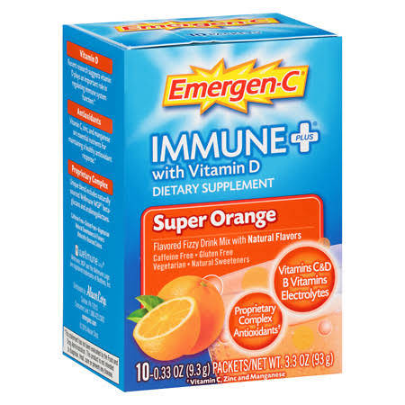 Emergen-C Immune Plus Dietary Supplement - Super Orange Flavor, 10ct
