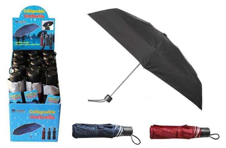 Collapsable Folding Umbrella - Assorted Colors, 15ct