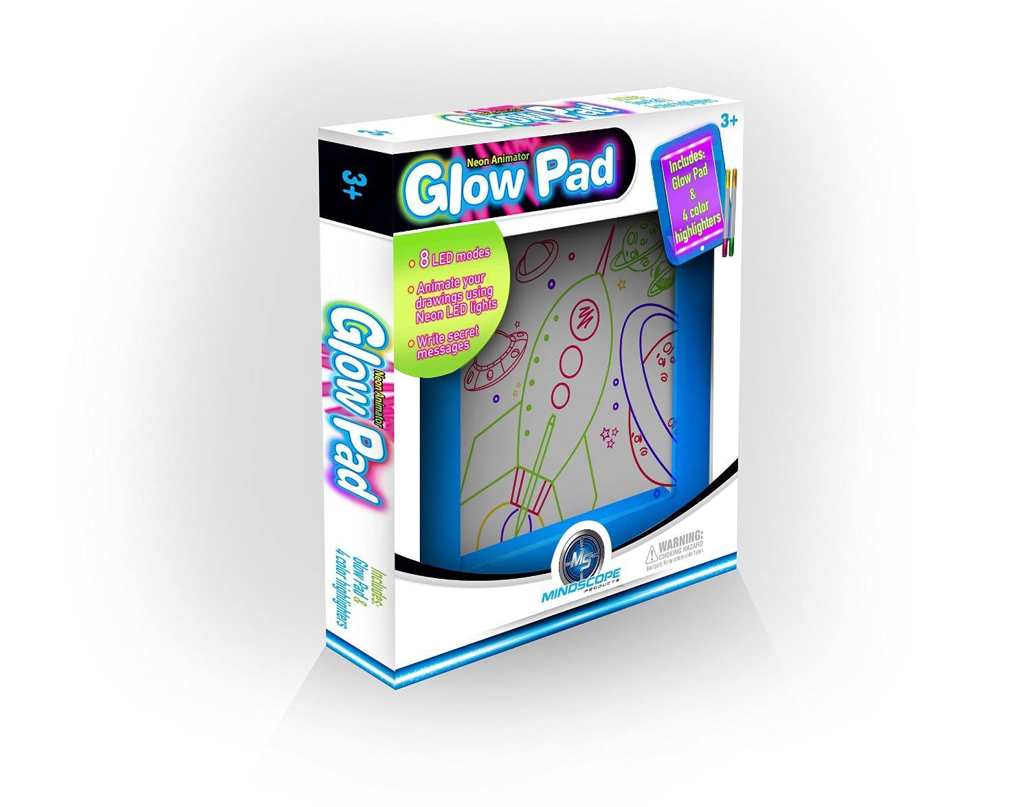 Mindscope Glow Pad Neon Animator with Markers, Pink