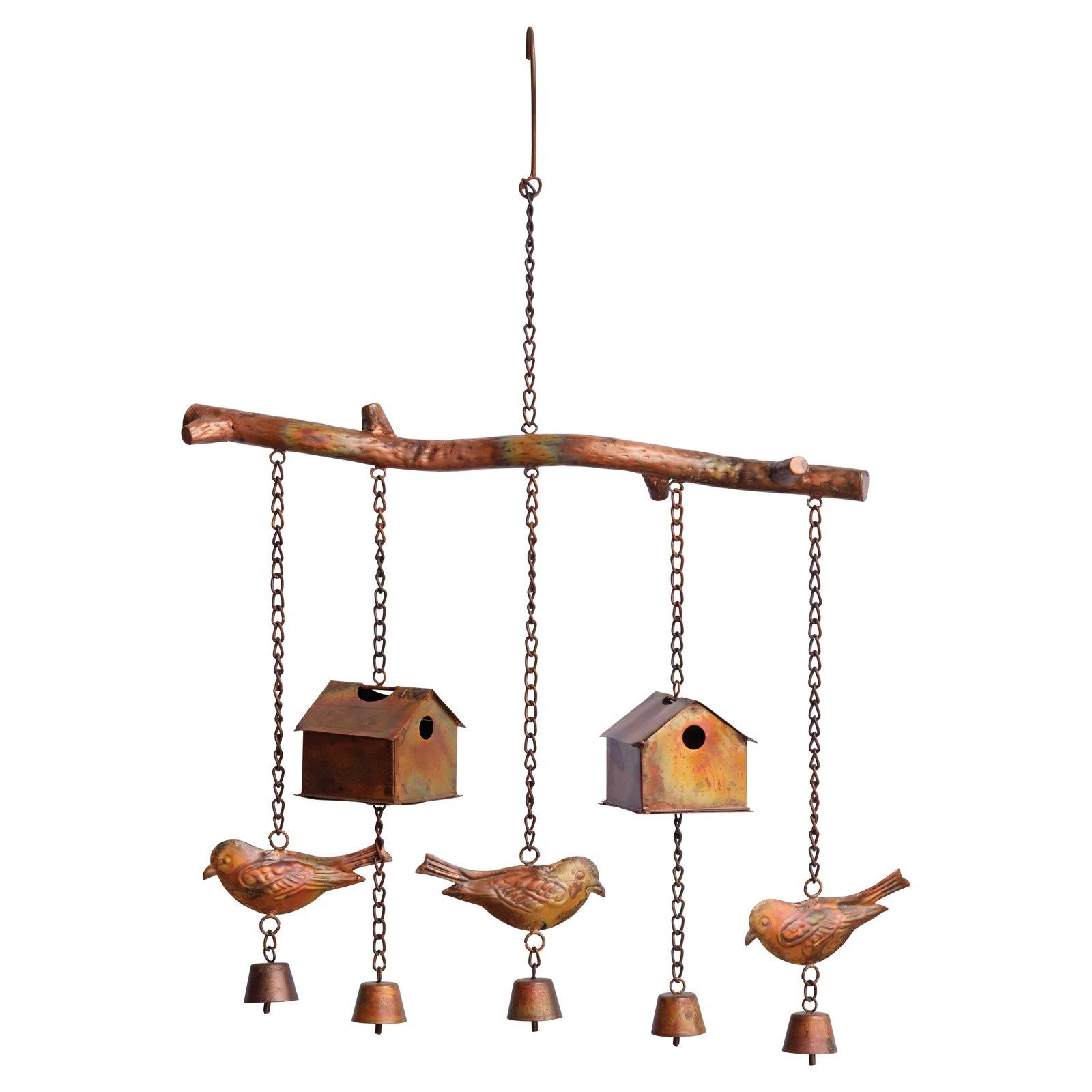 Ancient Graffiti Flamed Bird House and Birds Wind Chime